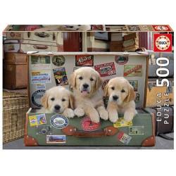 Cachorros en el equipaje puzzle 500 piezas